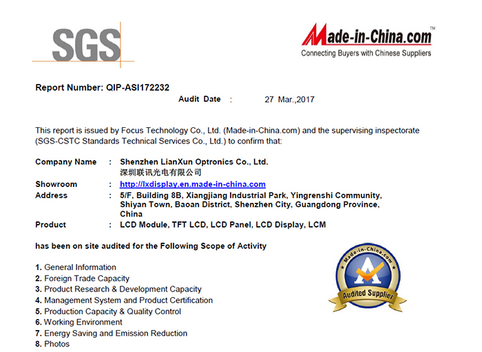 Audited Supplier of Made-in-China and SGS